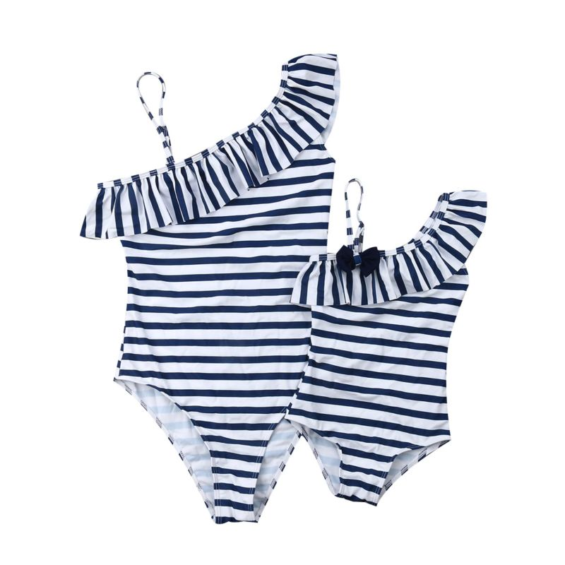 Mommy and Me Frilled Stripe One Shoulder Swimming Suit