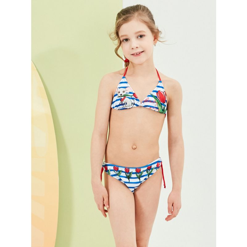2-Piece Fashion Toddler Big Girl Cartoon Animal Stripe Bikini