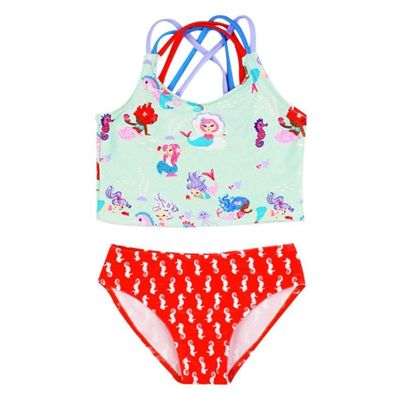 2-Piece Toddler Big Girl Cartoon  Mermaid Horse Tankini Swimwear