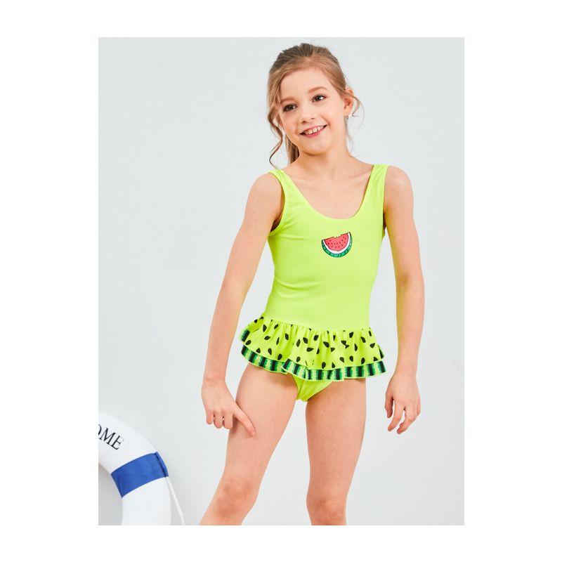 Little Big Girl Watermelon Pattern Frilled One Piece Bathing Suit