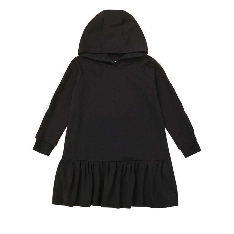 Spring Fashion Little Big Girl Black Hooded Dress