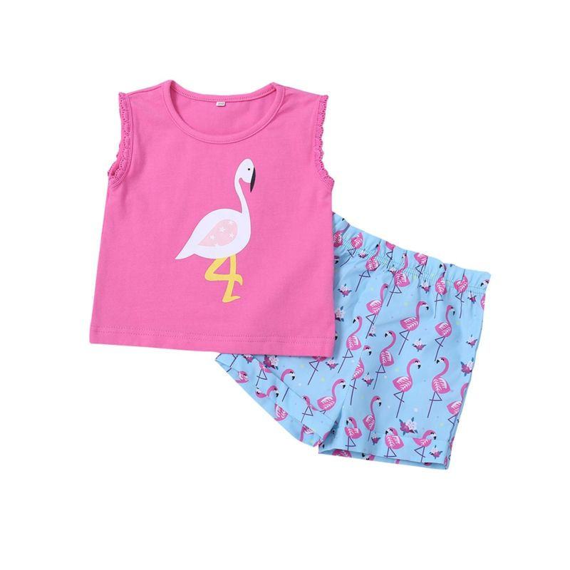 2-Piece Infant Toddler Girl Flamingo Outfits Pink Tank Top+Shorts