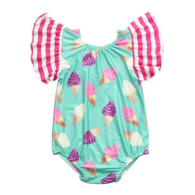 Cute Ice Cream Flutter Sleeve Toddler Little Girl One Piece Swimwear