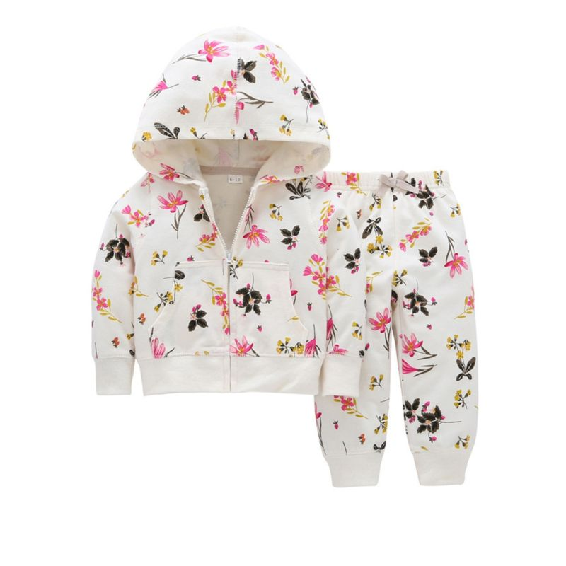 2-Piece Spring Baby Toddler Girl Flower Clothes Outfits Hooded Jacket+Pants