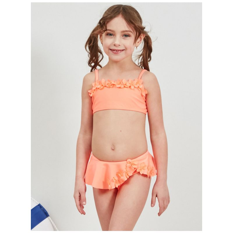 2-Piece Stylish Little Big Girl Flower Trimmed Solid Color Bikini