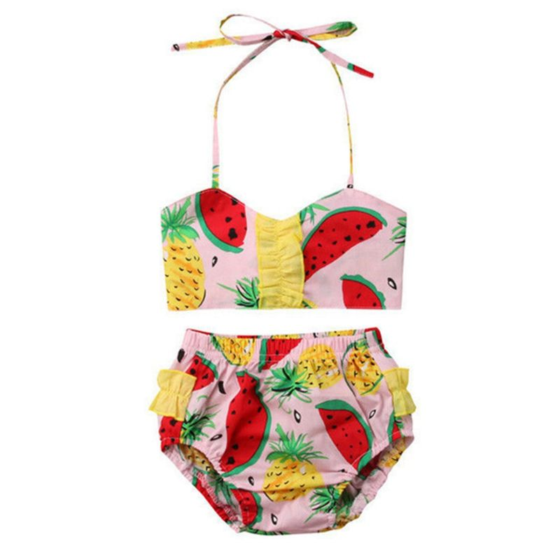 2-Piece Watermelon Pineapple Pattern Toddler Little Girl Bikini