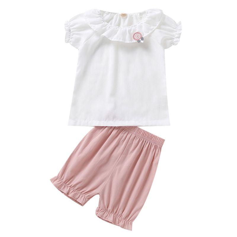 2-Piece Cute Baby Little Girl Outfits White Blouse+Pink Short Pants