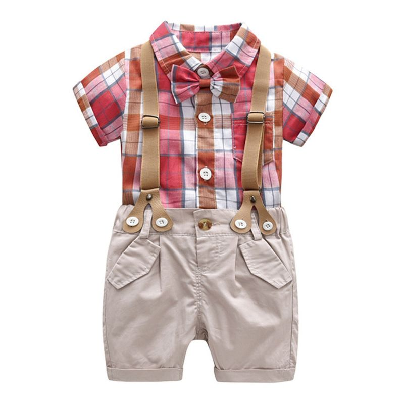 2-Piece Summer Toddler Infant Boy Checked Shirt Top+Suspender Short Pants Outfits