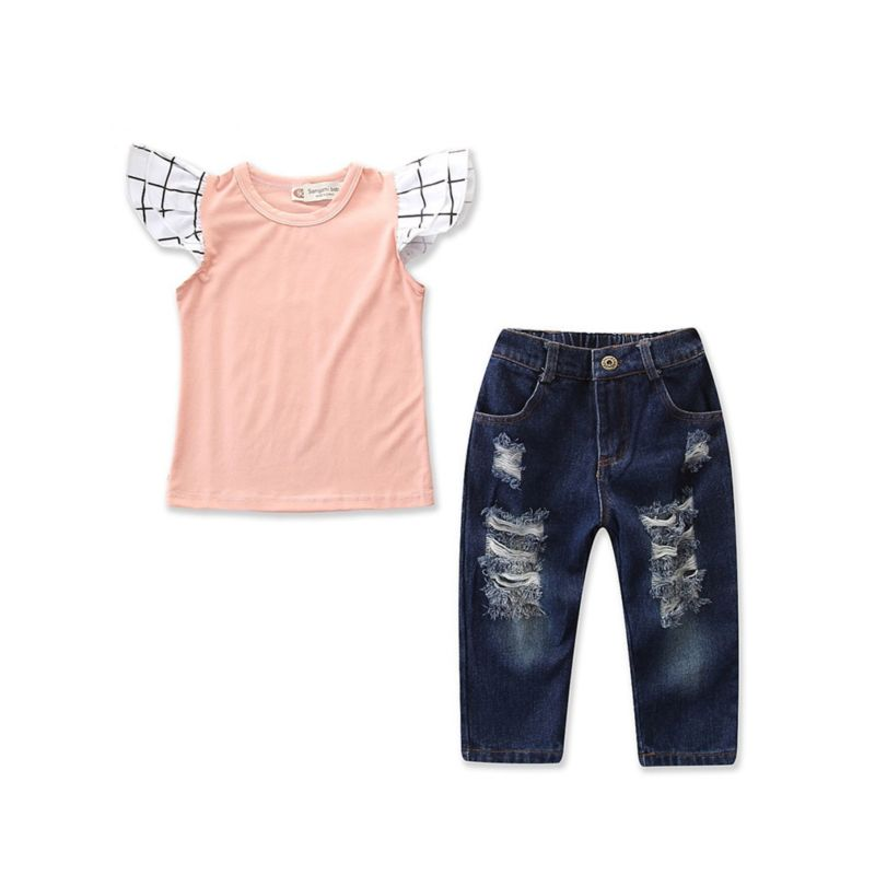 2-Piece Fashion Little Toddler Girl Flutter Sleeve T-shirt+ Frayed Jeans Outfits