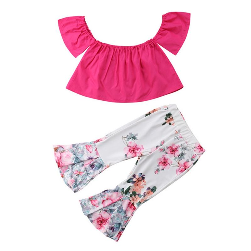 2-Piece Summer Fashion Little Baby Girl Outfits Pink Off Shoulder Top+Flower Bell-bottomed Pants