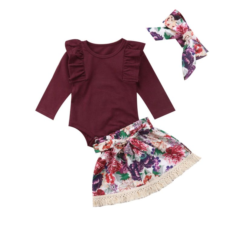 3-Piece Spring Baby Girl Clothes Outfits Red Flutter Sleeve Bodysuit+Tassel Trimmed Flower Bow Skirt+Headband