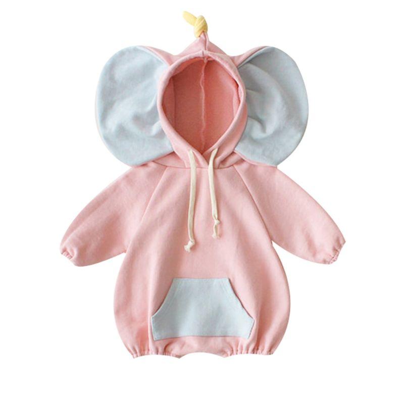 Adorable Spring Elephant Pattern Hoodie Baby Bodysuit