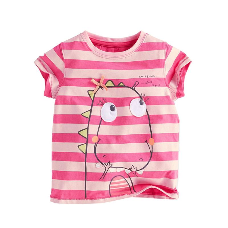 6-PACK Big Little Girl Cartoon Animal Striped T-shirt