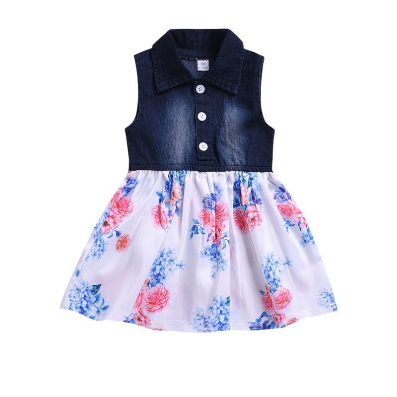Summer Toddler Baby Girl Flower Denim Patchwork Sleeveless Dress