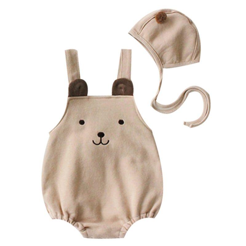2-Piece Cartoon Bear Baby Romper+Pom Hat