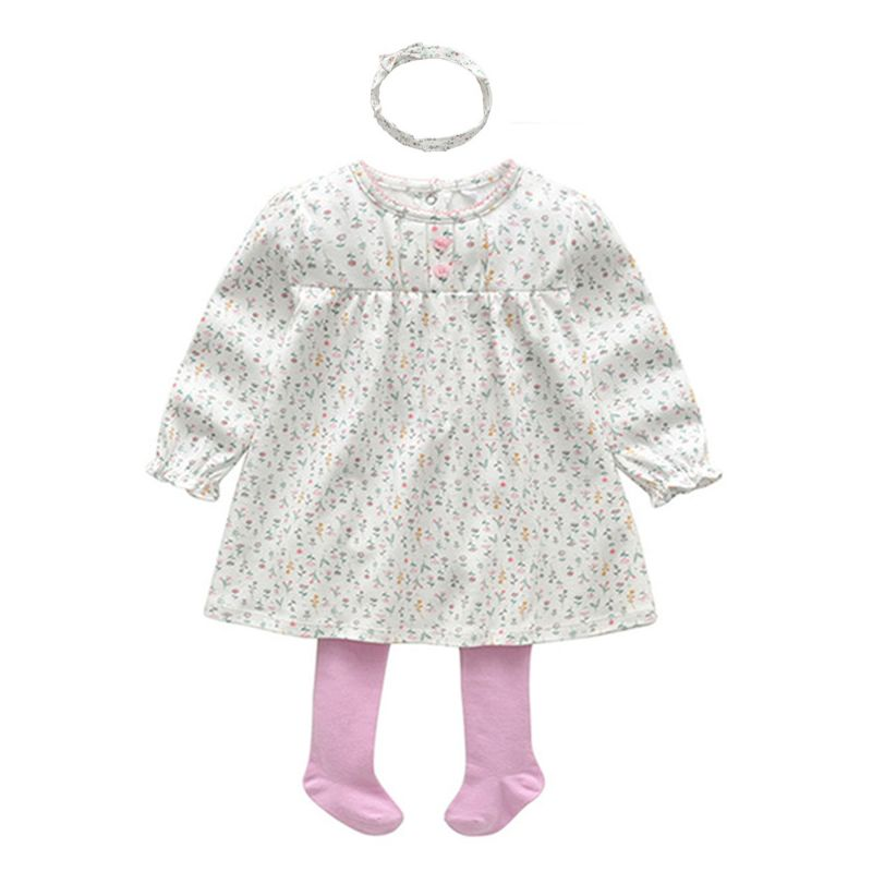3-Piece Spring Baby Girl Clothes Outfits Floral Dress+Pink Pantyhose+Headband