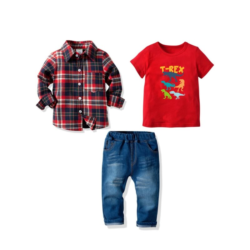 3-Piece Big Little Boy Clothes Outfits Checked Turn Down Collar Shirt+T_REX T-shirt+Jeans