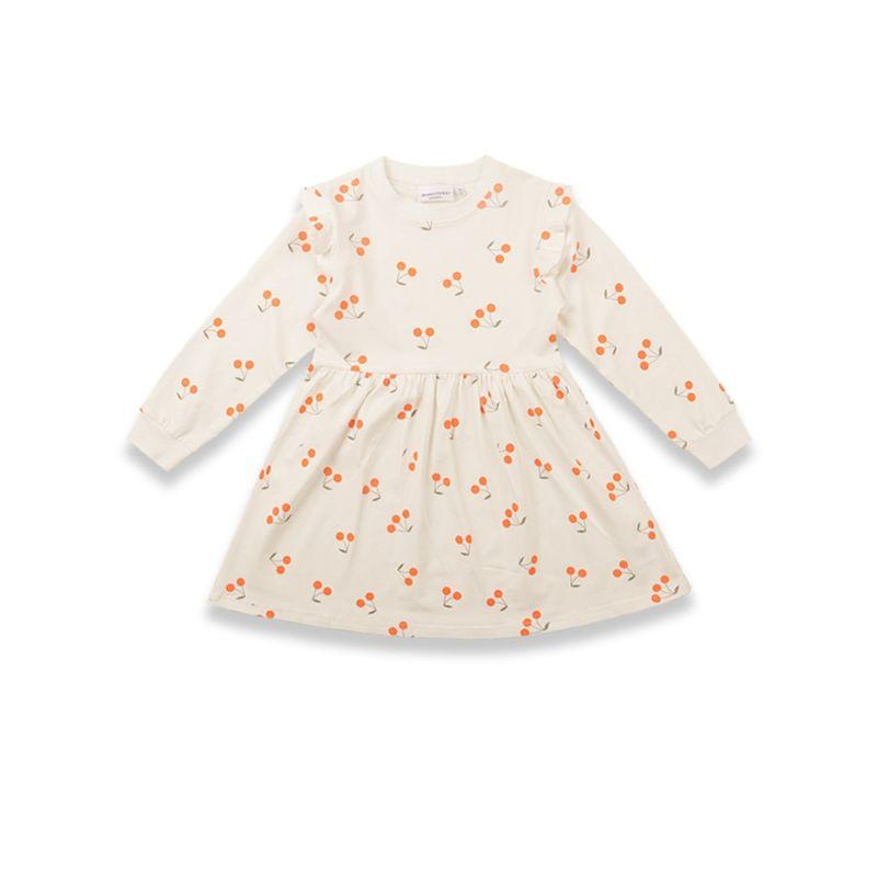 Spring Flutter Sleeve Cheery Little Girl Dress