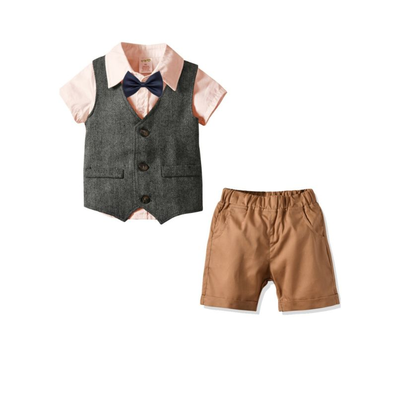 4-Piece British Style Baby Little Boy Clothes Outfits Pink Turn-down Collar Shirt with Bow Tie+Waistcoat+Shorts