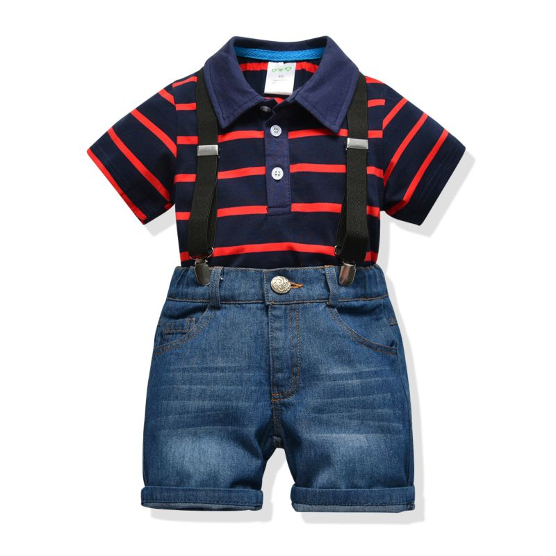 2-Piece Summer Baby Infant Boy Clothes Outfits Stripe Polo T-shirt+Suspender Short Jeans