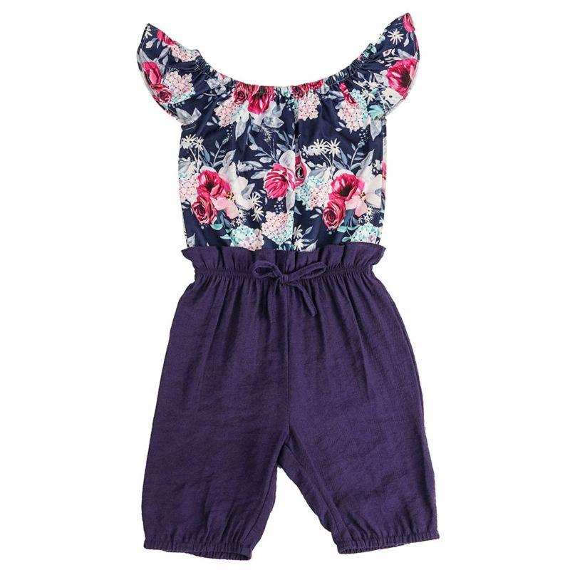 Off Shoulder Flower Kids Jumpsuit for Summer