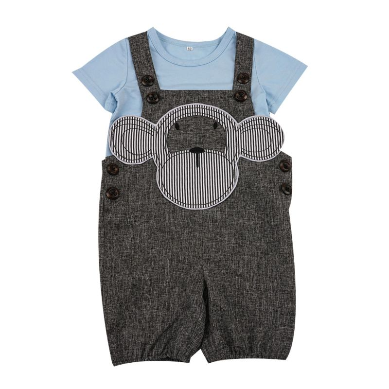 2-Piece Baby Clothes Outfits Blue T-shirt+Monkey Pattern Overalls
