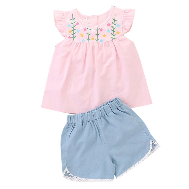 2-Piece Summer Spanish Style Little Baby Girl Pink Flower Tunic+Blue Shorts