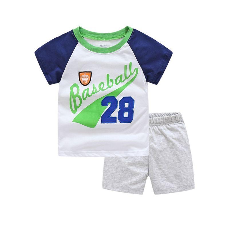 2-Piece Little Big Boy Baseball 28 T-shirt+Shorts Pajamas Casual Style