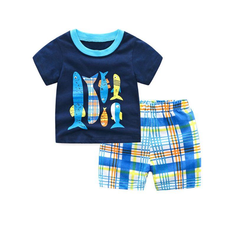 2-Piece Little Big Children Homewear Fish T-shirt+Checked Shorts Pajamas