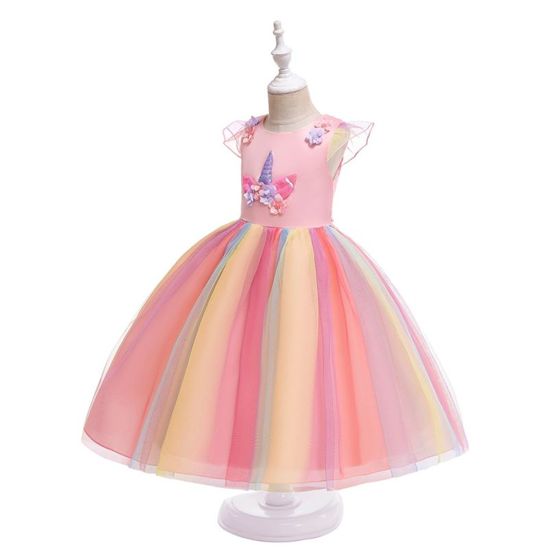 Classy Unicorn Flower Trimmed Fit & Flare Little Big Girl Princess Mesh Party Dress