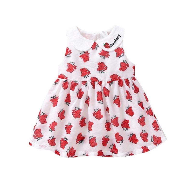 Peter Pan Collar Strawberry Print Sleeveless Baby Little Girl Dress