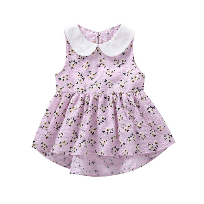 Peter Pan Collar Floral Print Sleeveless Baby Toddler Girl Dress