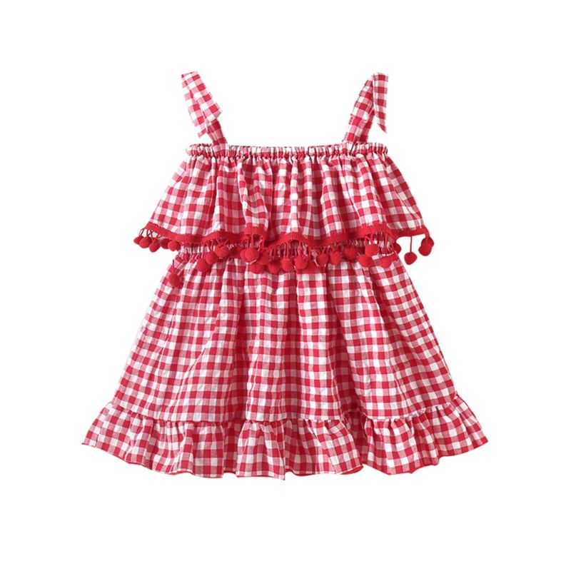 Baby Little Girl Pom Pom Trimmed Checked Suspender Dress