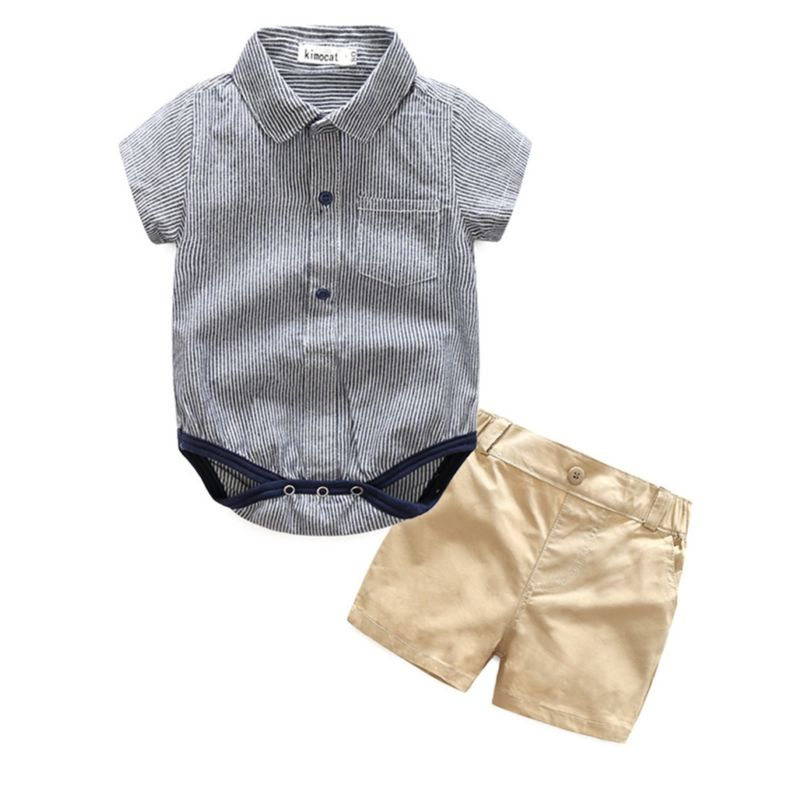 2-Piece Summer Baby Boy Clothes Outfits Pinstripe Turn-down Collar Bodysuit+Shorts
