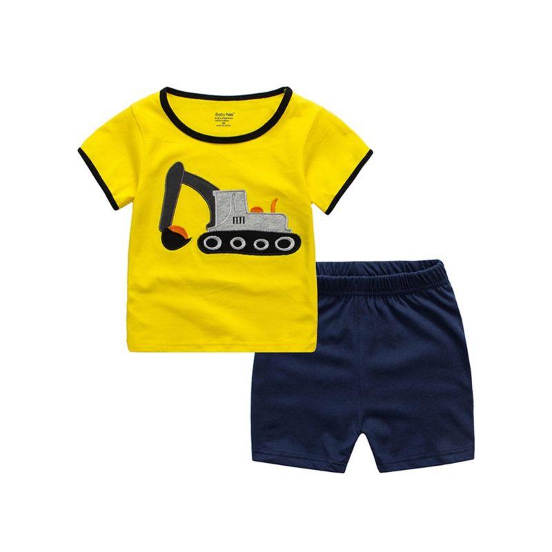 2-piece Little Big Boy Excavator Applique Homewear Outfits Yellow T-shirt+Shorts