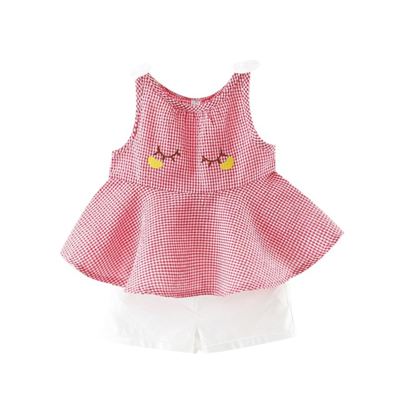 2-Piece Summer Baby Girl Checked Sleeveless Top+White Shorts Outfits