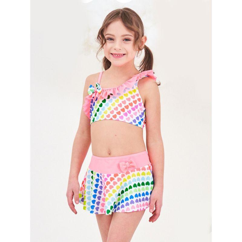3-Piece Girl Love Heart Print Swimwear Set Bow Frilled One Shoulder Top+Briefs +Skirt