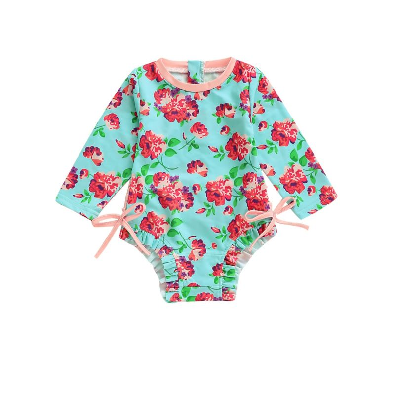 Flower Bow Infant Little Girl One Piece Swimsuit