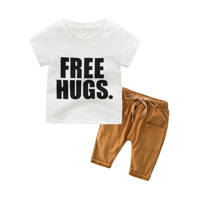 2-Piece Infant Little Boy Clothes Outfits FREE HUGS Letters Print White T-shirt+Pull-on Pants