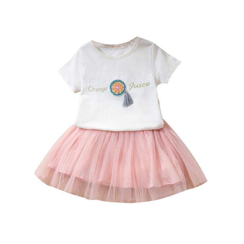2-Piece Little Girl Clothes Outfits Tassel Trimmed T-shirt+Mesh Skirt