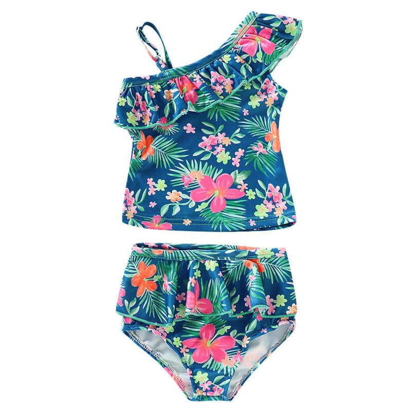 2-Piece Baby Little Girl Floral Swimsuit One Shoulder Frilled Top+Shorts