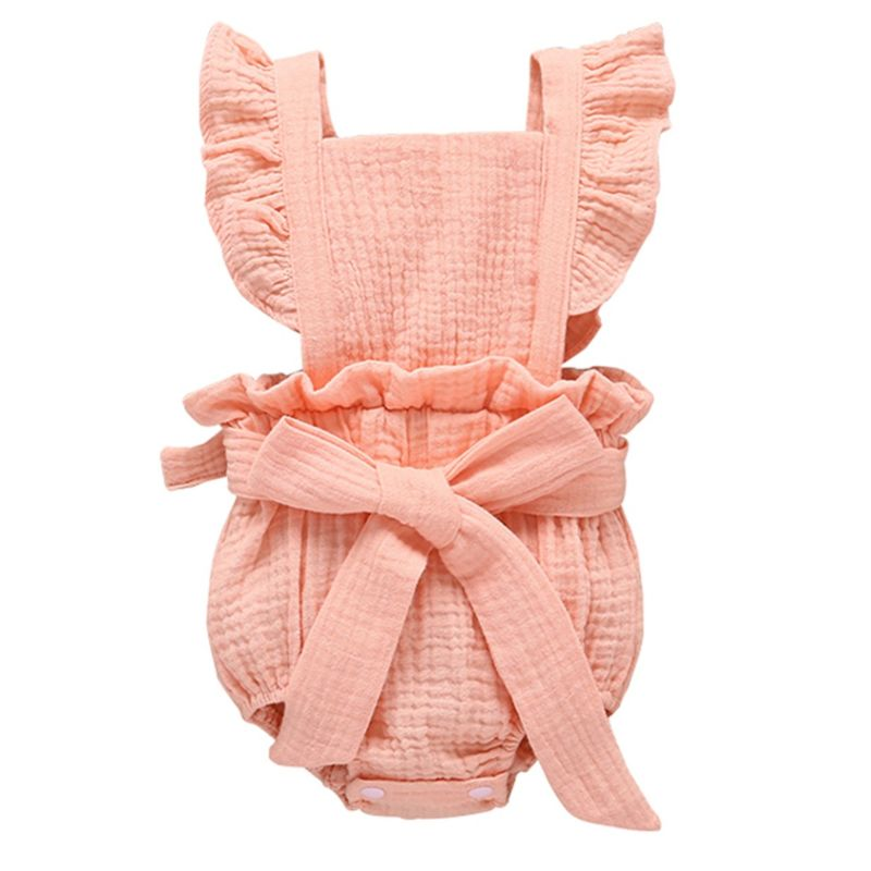 Solid Color Big Bow Flutter Sleeve Fluffy Muslin Onesie Romper