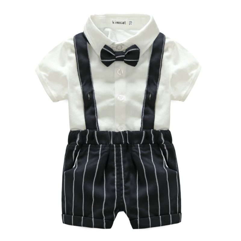 2-Piece Summer British Style Baby Clothes Outfits White Turn Down Collar Shirt Matching Bow Tie+Stripe Suspender Shorts