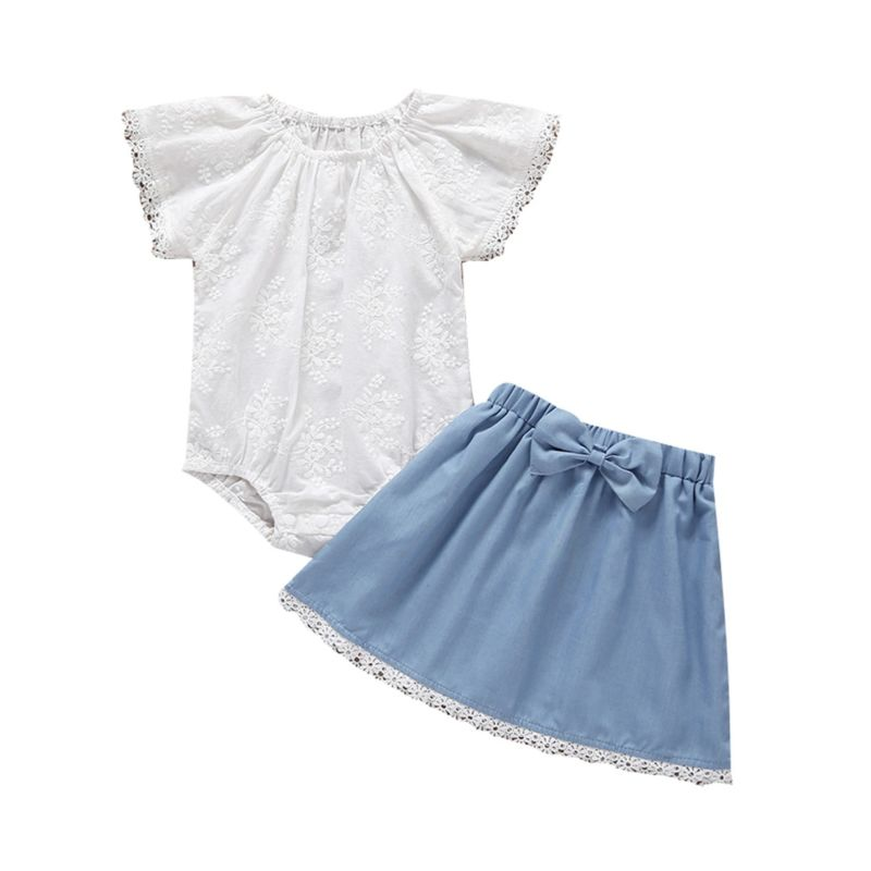 2-Piece Baby Clothes Outfits White Bodysuit+Bow Blue Skirt