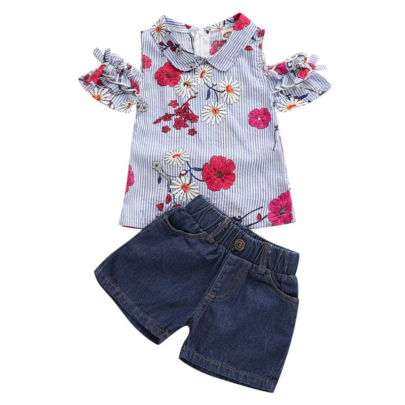 2-Piece Baby Little Girl Clothes Outfits Flower Pinstripe Top+Short Jeans