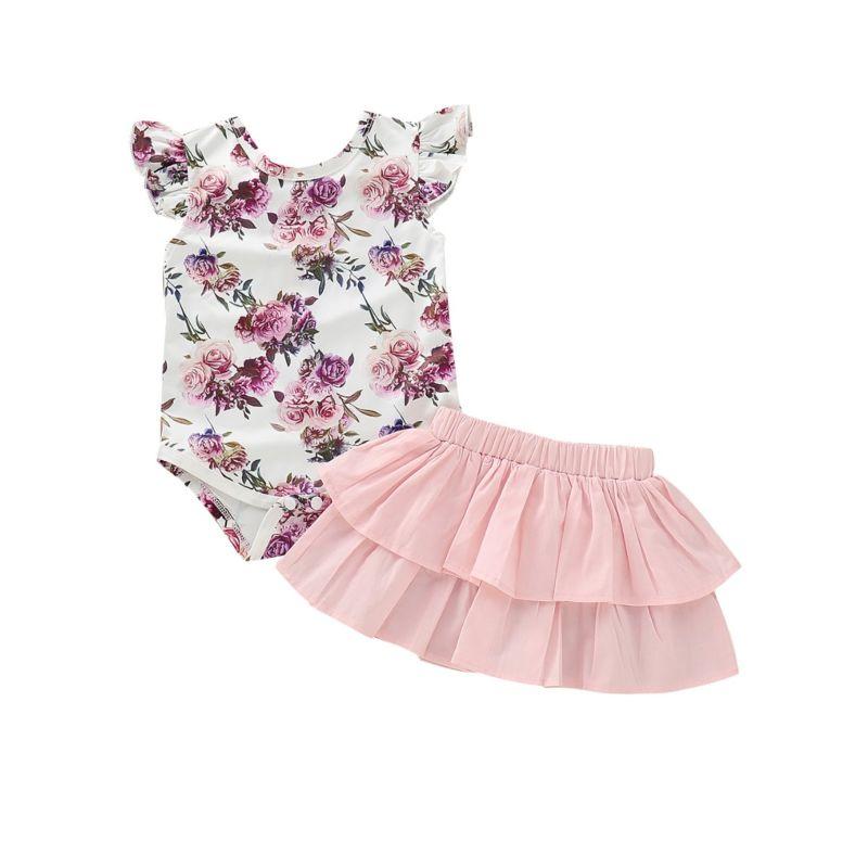 2-Piece Summer Baby Clothes Outfits Flower Flutter Sleeve Bodysuit+Pink Skirt