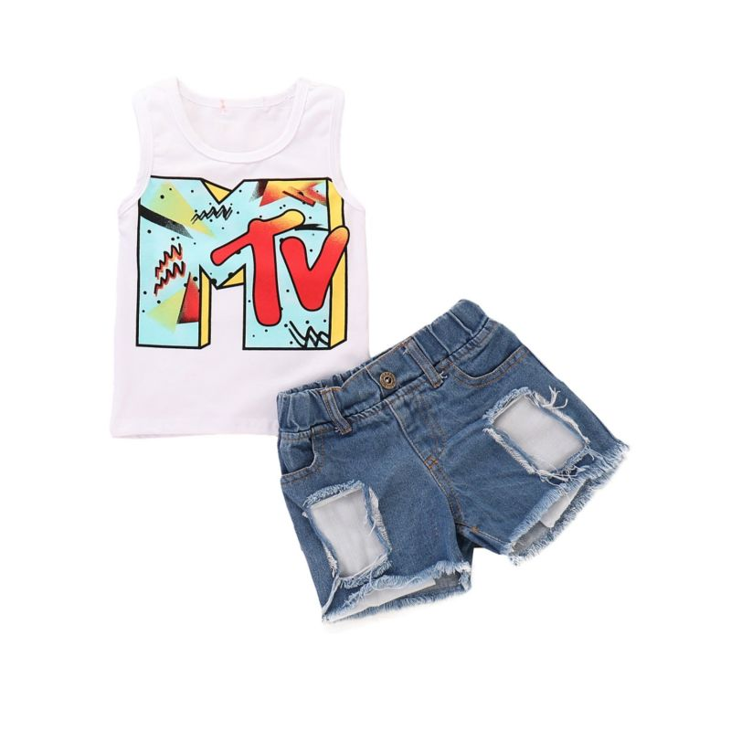 2-Piece Summer Infant Kids Clothes Outfit MTV Tank Top+Ripped Fringe-hem Short Jeans
