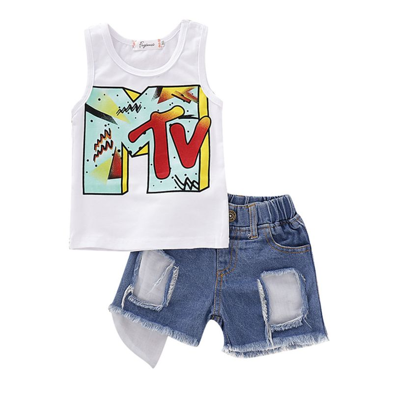 2-Piece Fashion Summer Baby Kids Clothes Outfit MTV Tank Top Matching Special Design Ripped Fringe-hem Short Jeans