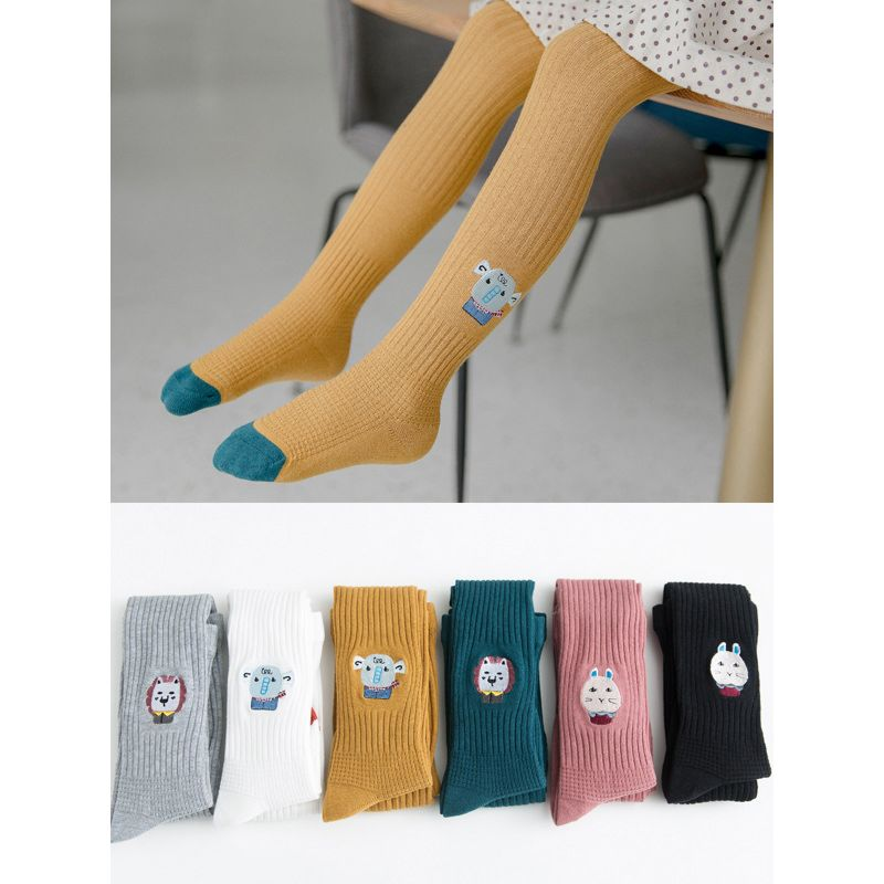 Animal Embroidery Ribbed Tights Stockings Pantyhose Pants