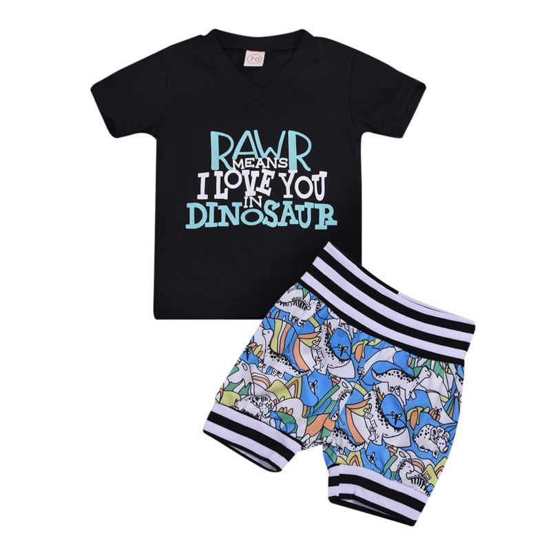 2-Piece Baby Little Boy Clothes Outfits RAWR Means I LOVE YOU IN DINOSAUR T-shirt+Printed Shorts